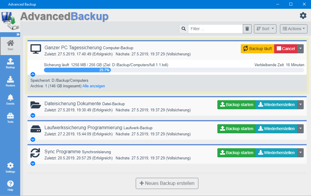Advanced Backup v6 - Preview